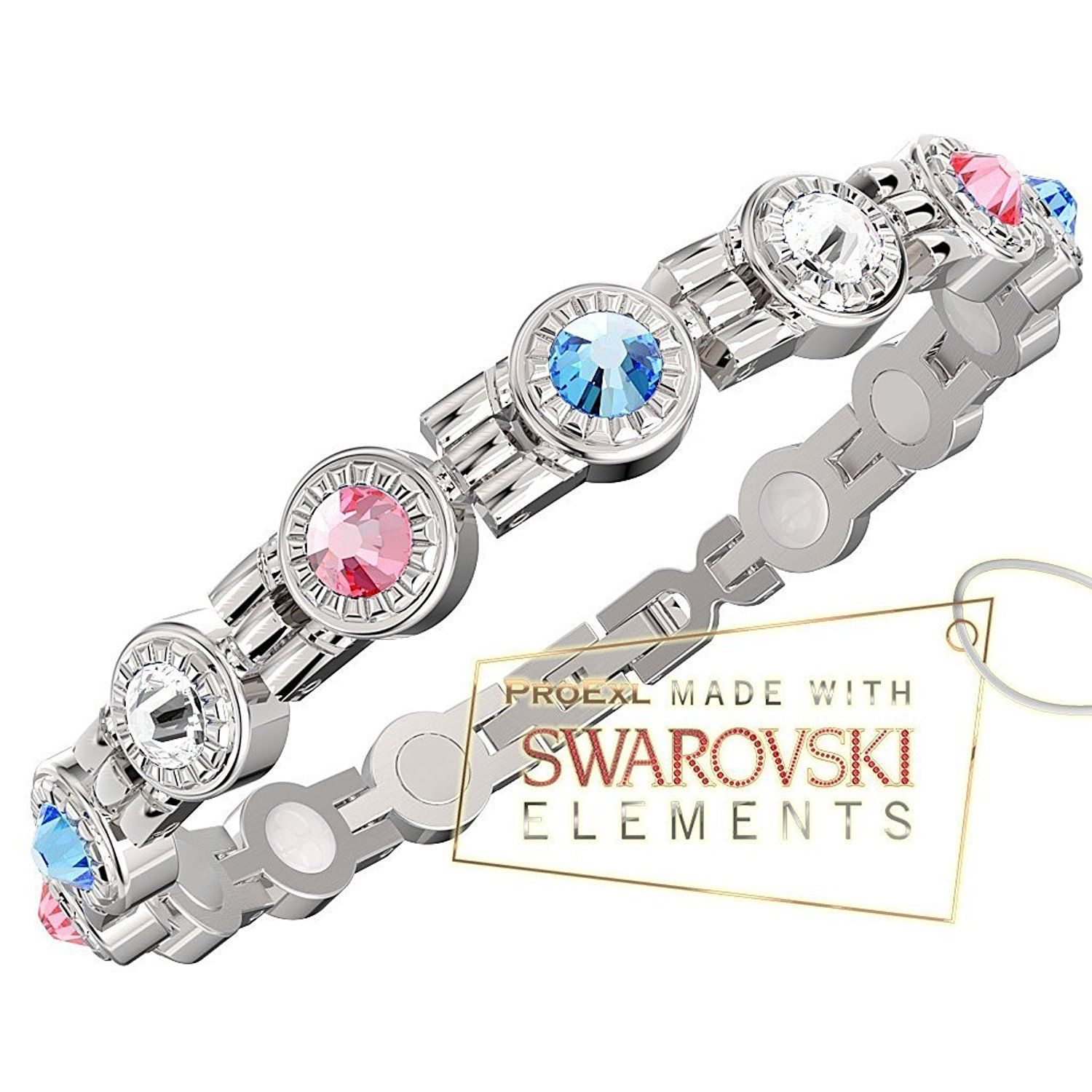 A Swarovski Crystal Womens Magnetic Bracelet Multi Color Crystals