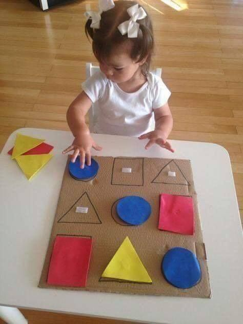 Paper with crafts ideas at home  Sort colors and shapes with simple materials