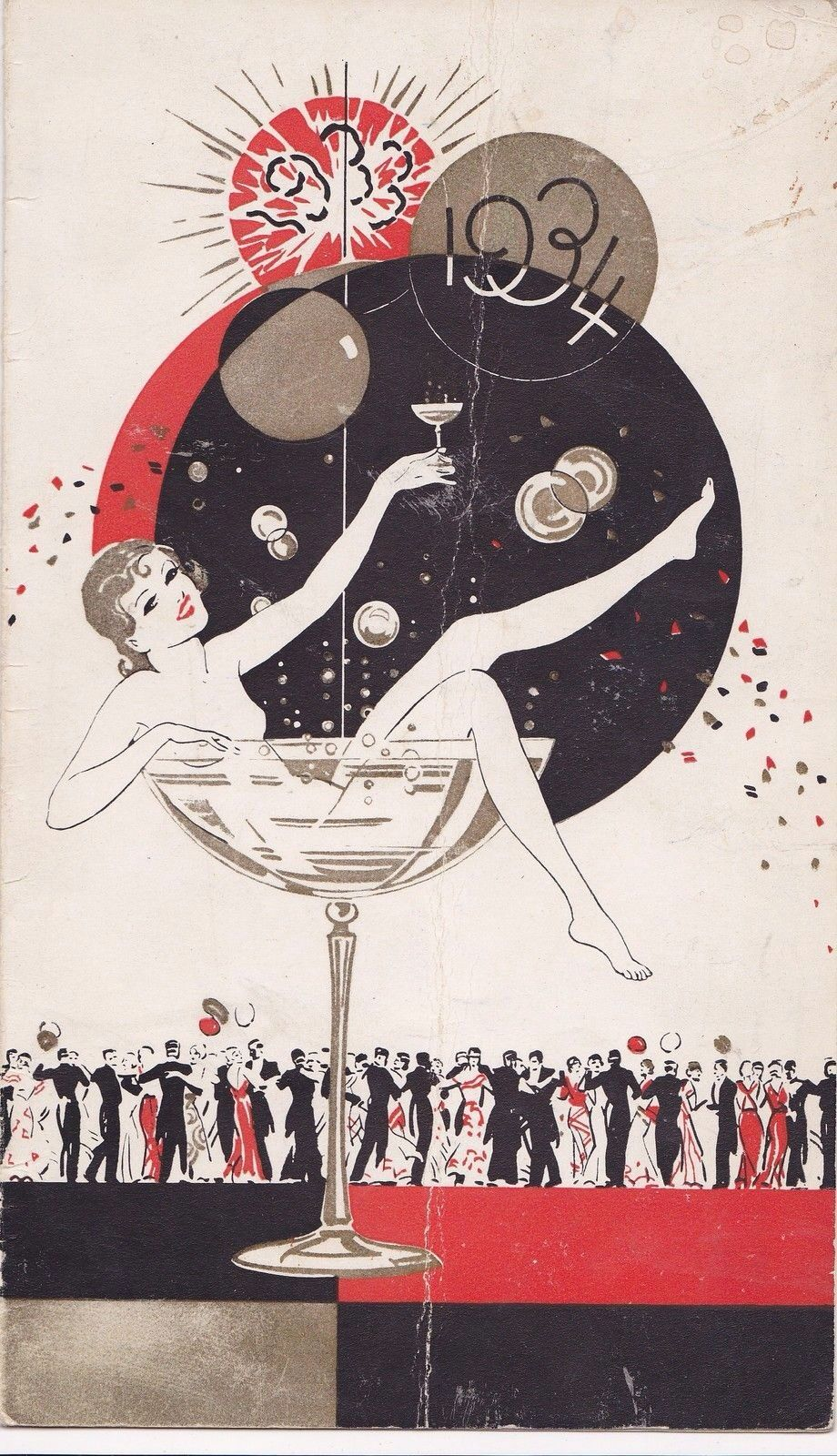 1933 1934 art deco new year card