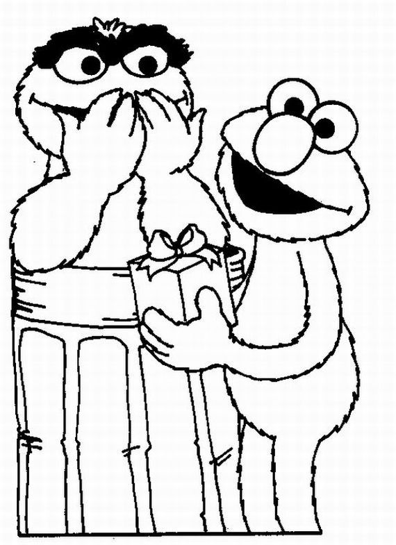 Coloring page of Elmo giving Oscar the Grouch a present. | Oscar the ...