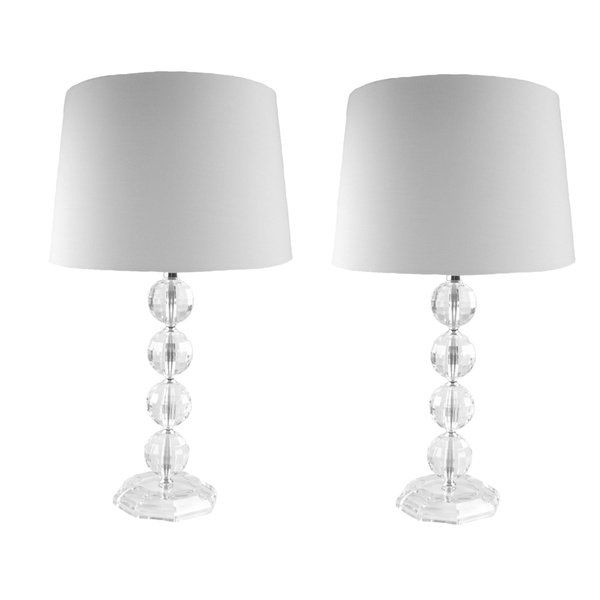 Clear Acrylic Stacked Globe Table Lamps Set Of 2