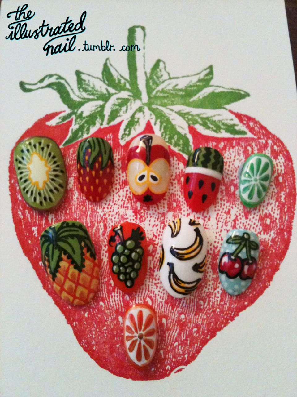 Fruity nail tips for Rita's Brazilian adventure via The Illustrated Nail