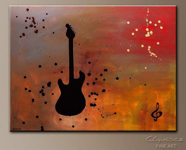 Guitar Star Modern Art Painting - Music-Symbols