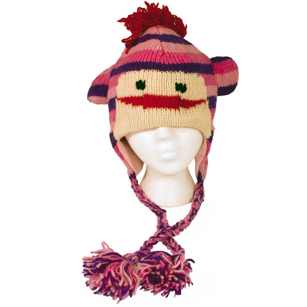 Buy Cheap Knitted Pink Monkey Beanie Hat - Girls Pink Sock Monkey