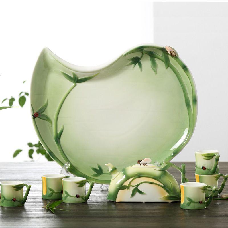 Hand Painted Enamel Porcelain Tea Set Of Bamboo Design Enamel Art Teapot And Tea Cup For Friend Luxury Gift Ceramic Tea Set Bamboo Design Tea Set