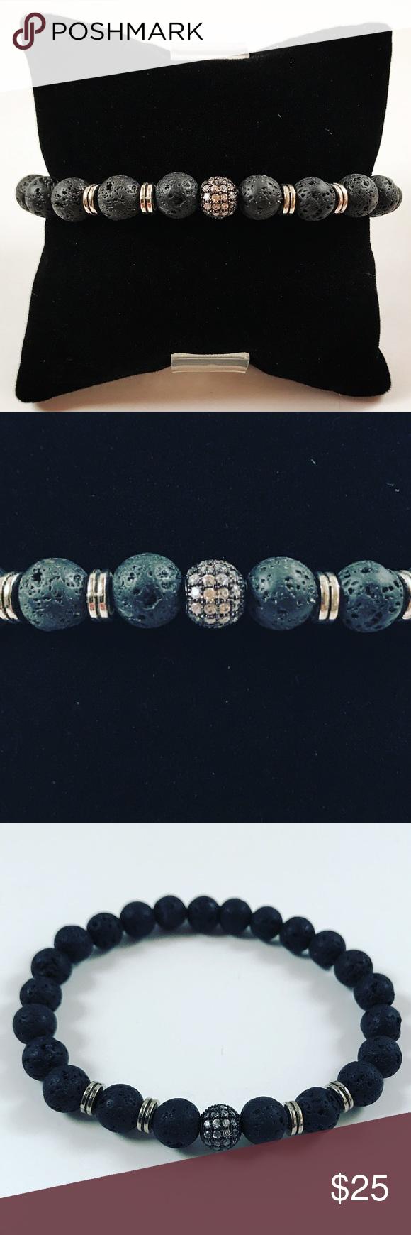 Men black lava rock cz bead silver beaded bracelet boutique men