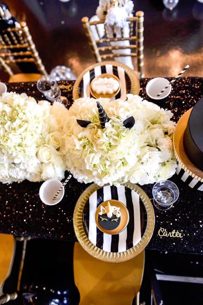 Elegant Black And Gold Unicorn Party Cumpleanos Unicornio