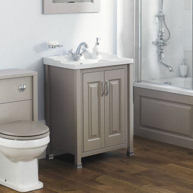 old london stone grey 600mm 2 door basin unit | grey