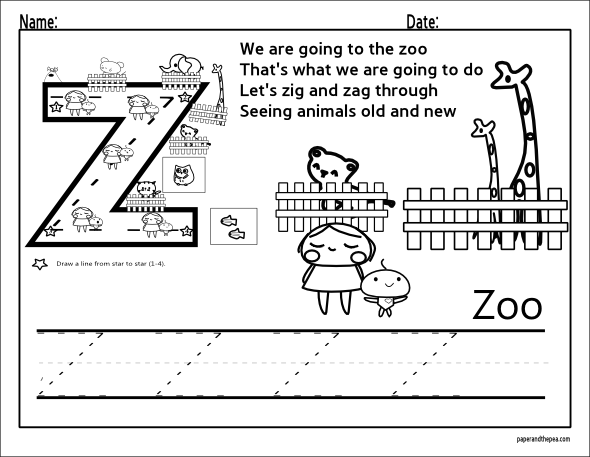 Printable english letter Z and Zoo outline picture. Contour ...