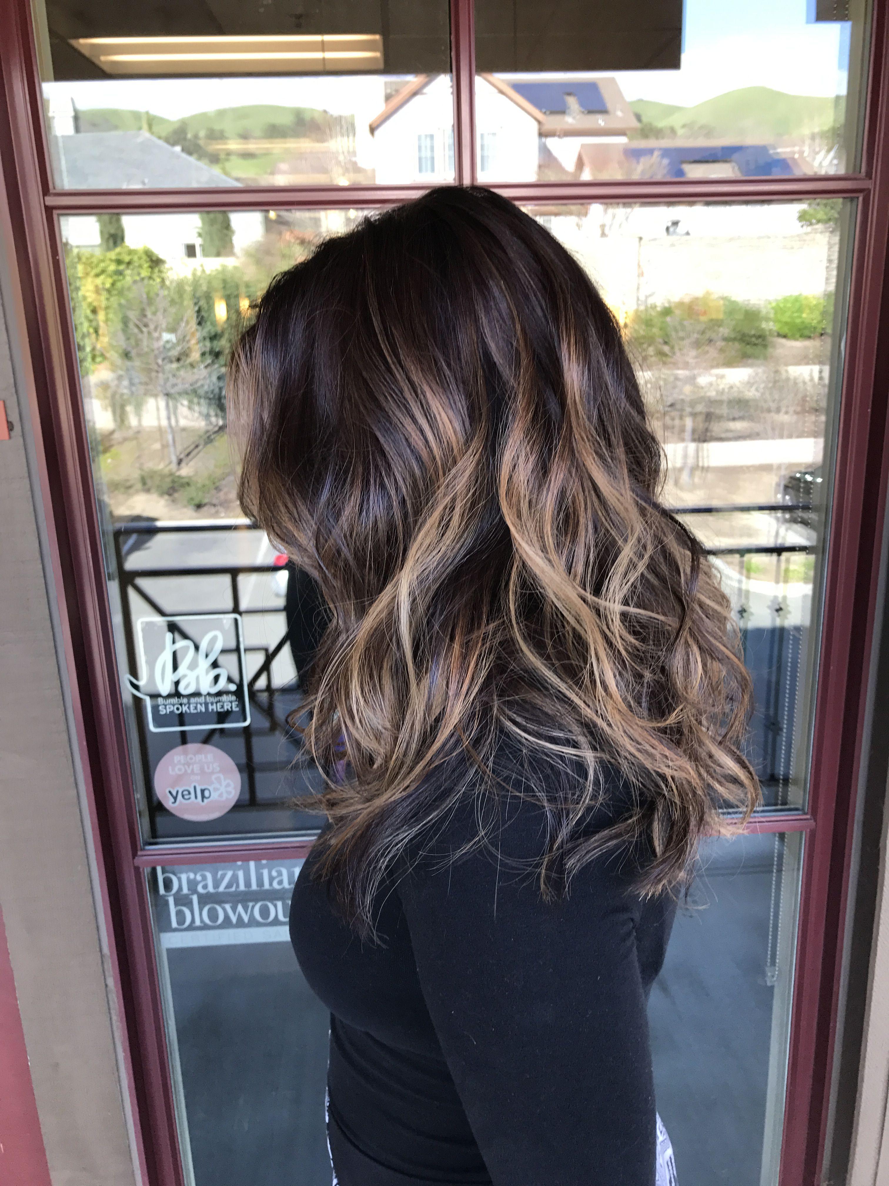 Balayage On Tanned Skin And Black Hair Black Hair Ombre Black Hair Balayage Hair Color For Tan Skin
