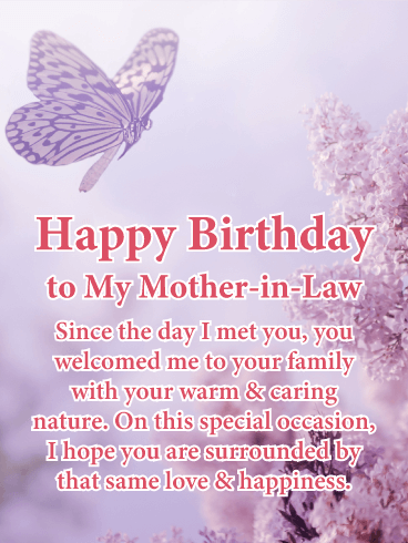 Warm caring nature happy birthday card for mother in law from warm caring nature happy birthday card for mother in law from the first time you met her she welcomed you with her caring nature m4hsunfo