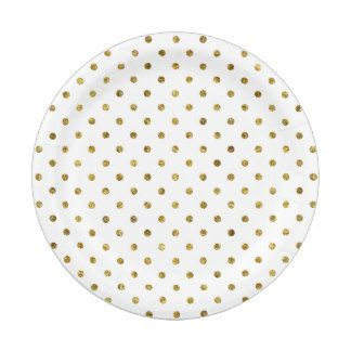 Choose from a variety of Gold disposable paper plates or create your own!  sc 1 st  Pinterest & Chic Gold Glam Polka Dots Paper Plate | engagement party/bridal ...