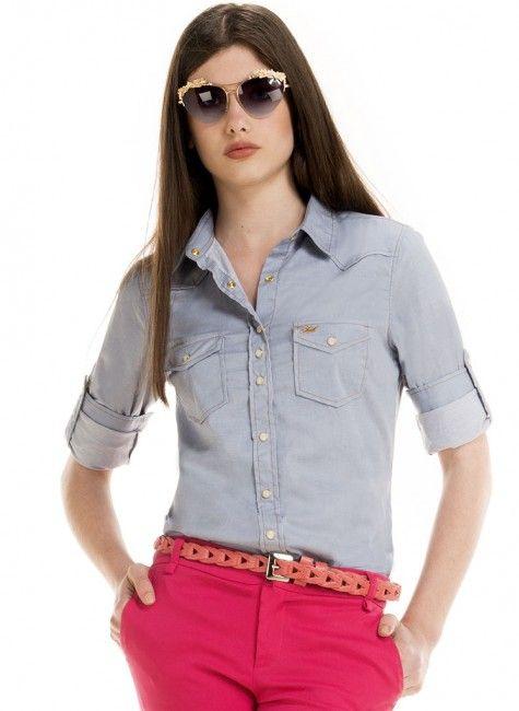 2588908c9d Camisa Jeans Feminina Maquinetada Principessa Emma