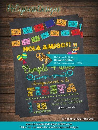 Fiesta Birthday Invitation Papel Picado English or Spanish