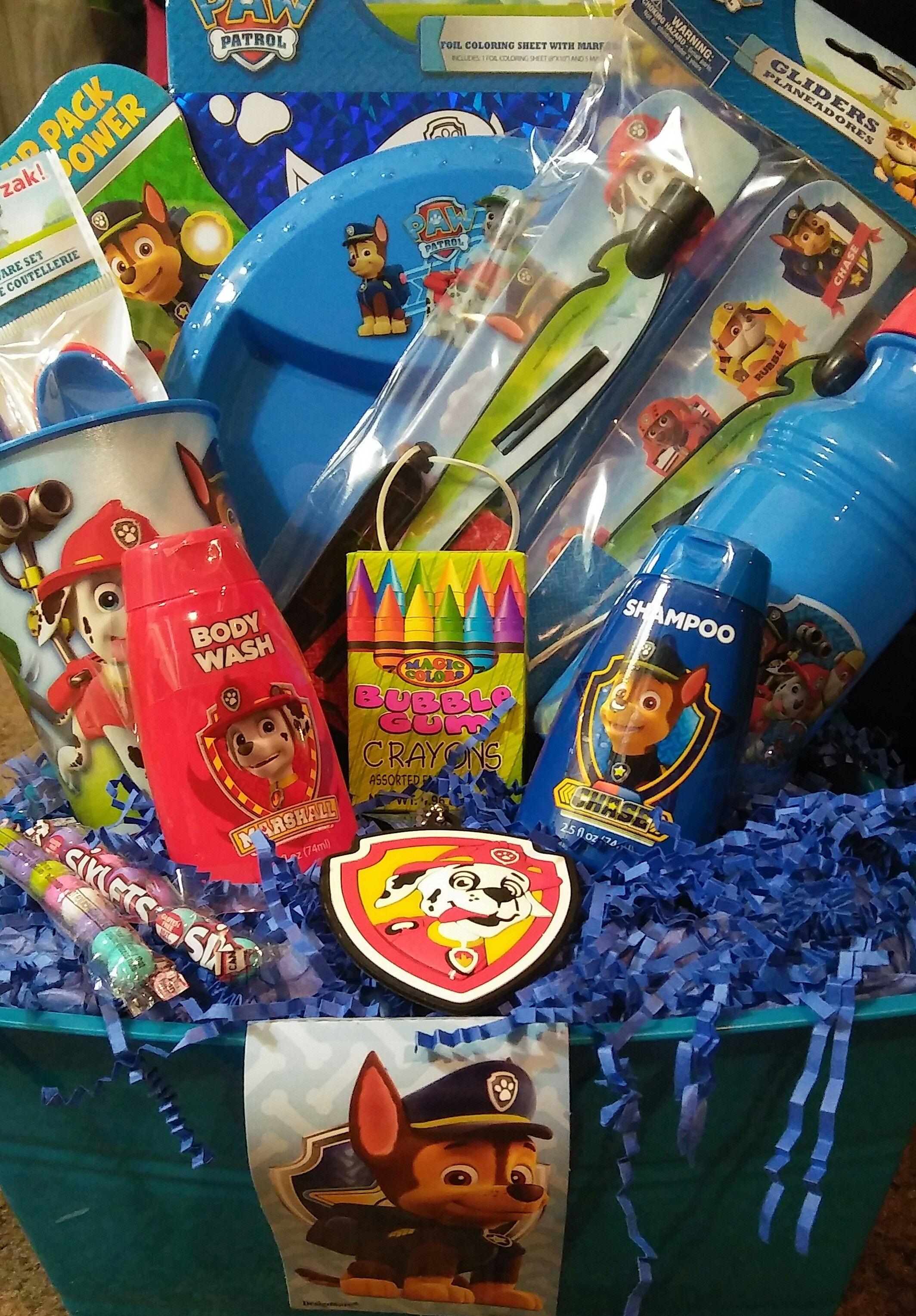 Gift Basket Paw Patrol - Paw patrol gifts, Paw patrol easter basket, Paw patrol, Kids easter basket, Gift baskets, Easter baskets -