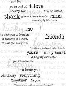 Wonderful Words Additions Stamp Set also has dies words you, forever, lucky and happy