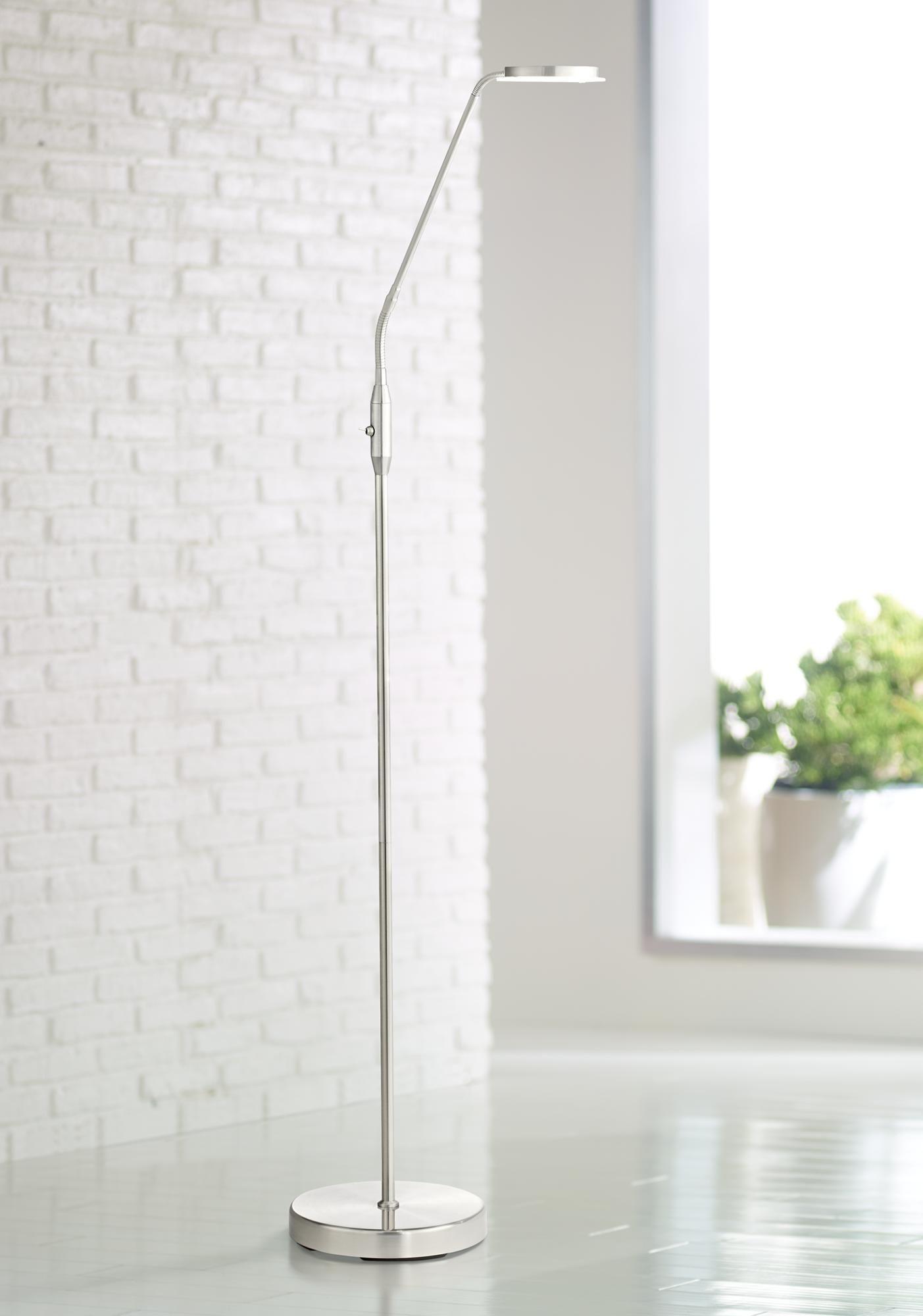 Floor Lamps Harmon Brushed Nickel Led Task Floor Lamp In 2020 Task Floor Lamp Floor Lamp Bedroom Nickel Floor Lamp