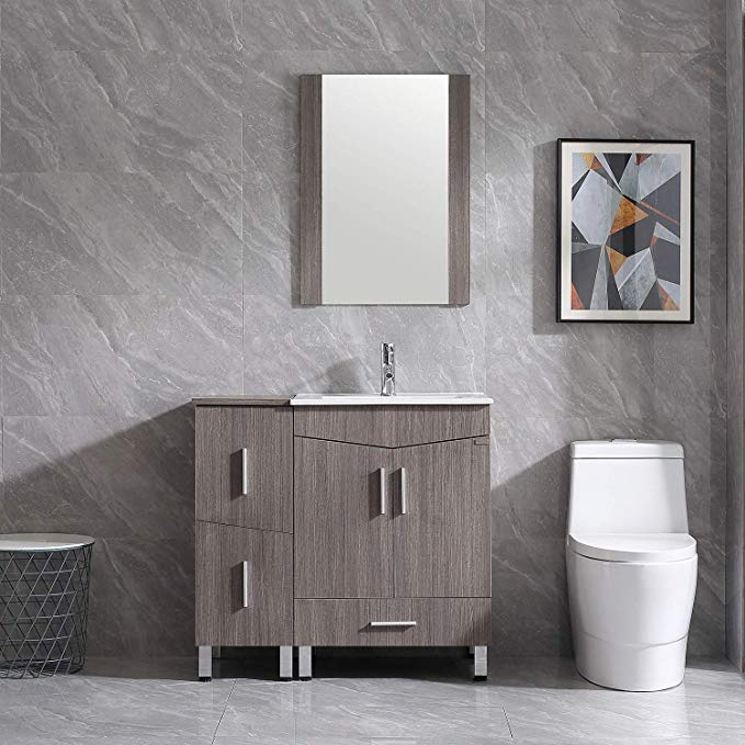 Walsport Bathroom Vanity Sink Combo 36 Modern Wood Cabinet Basin Vessel Sink Set With Mirror C Single Bathroom Vanity Vanity Set With Mirror Bathroom Vanity