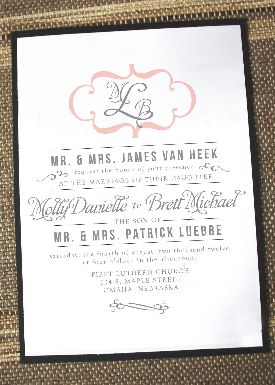 Modern vintage wedding invitation maybe with plum and silver my