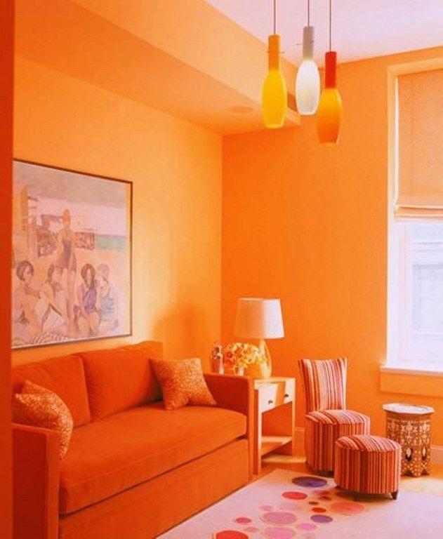 Monochromatic Orange Living Room home decor Pinterest Orange