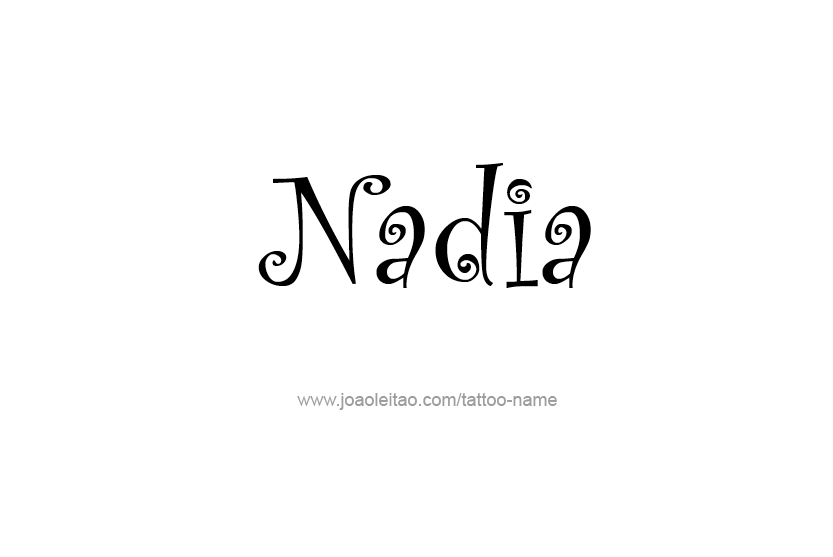 Page with 31 different design / font styles for the name Nadia. Make Nadia name tattoo.