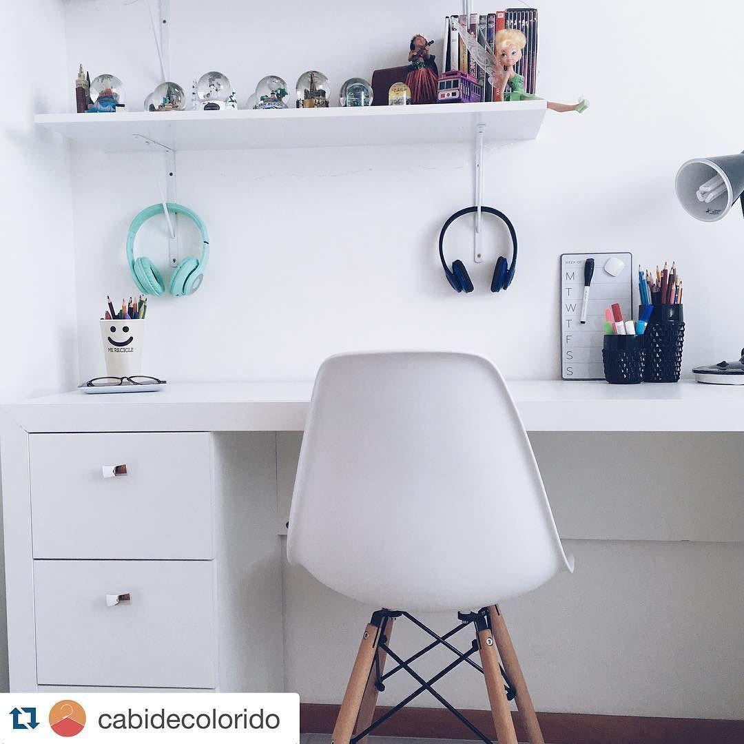 Nossa escrivaninha ficou LINDA no escritório do blog @cabidecolorido