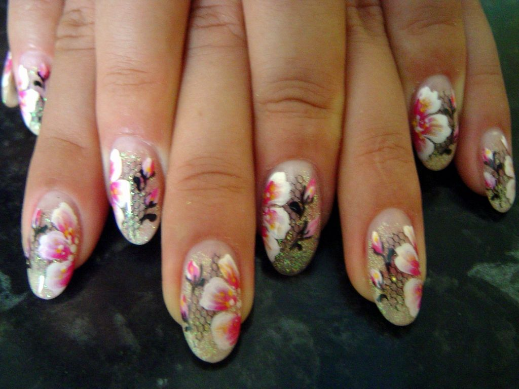 Chinese Nail Art Design With Pink Flowers Nail Art Pinterest