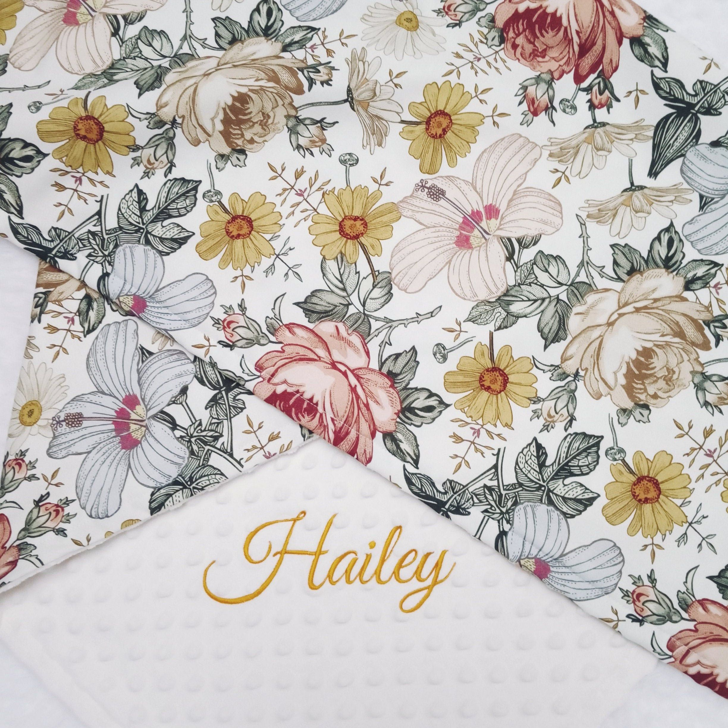 Retro Flowers Personalized Blanket For Girl Hibiscus And Rose Etsy Baby Girl Blankets Girl Blankets Best Baby Shower Gifts
