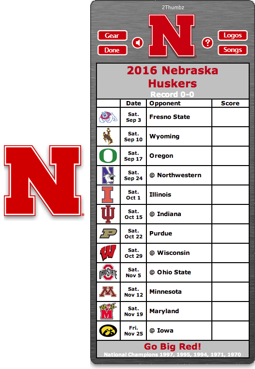 Get your 2016 Nebraska Huskers Football Schedule App for