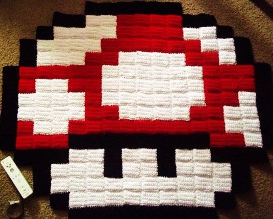 Giant 8 Bit Super Mario Mushroom Pixel Rug | Crafts and Things ...