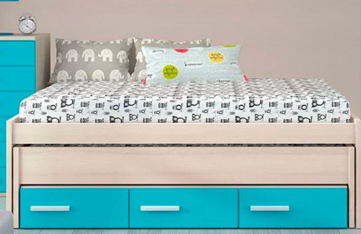 Cama compacta con nido y cajones para habitación juvenil. Muebles ...