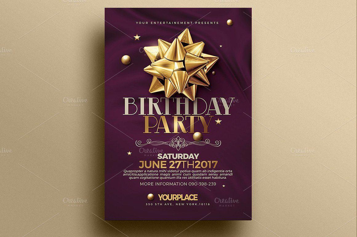Birthday Invitation   3 Psd Template by Creative Flyers on @creativemarket