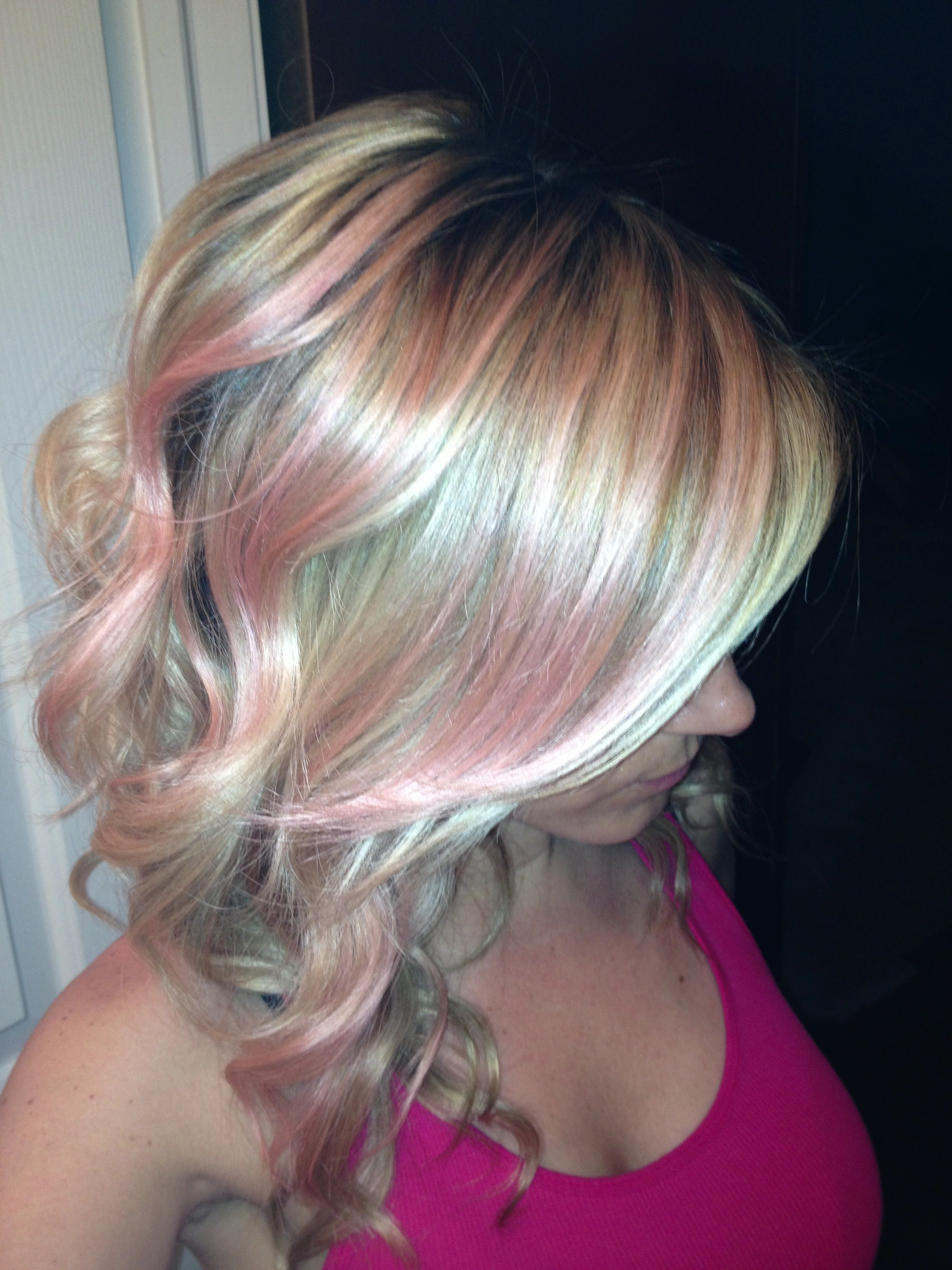 Pastel Pink Coral Highlights Blonde Hair