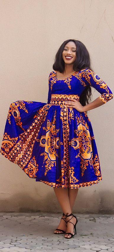 African Print Senegal Midi Dress: The Midi VICTORIA Dress. V Neck African Print Midi Dress