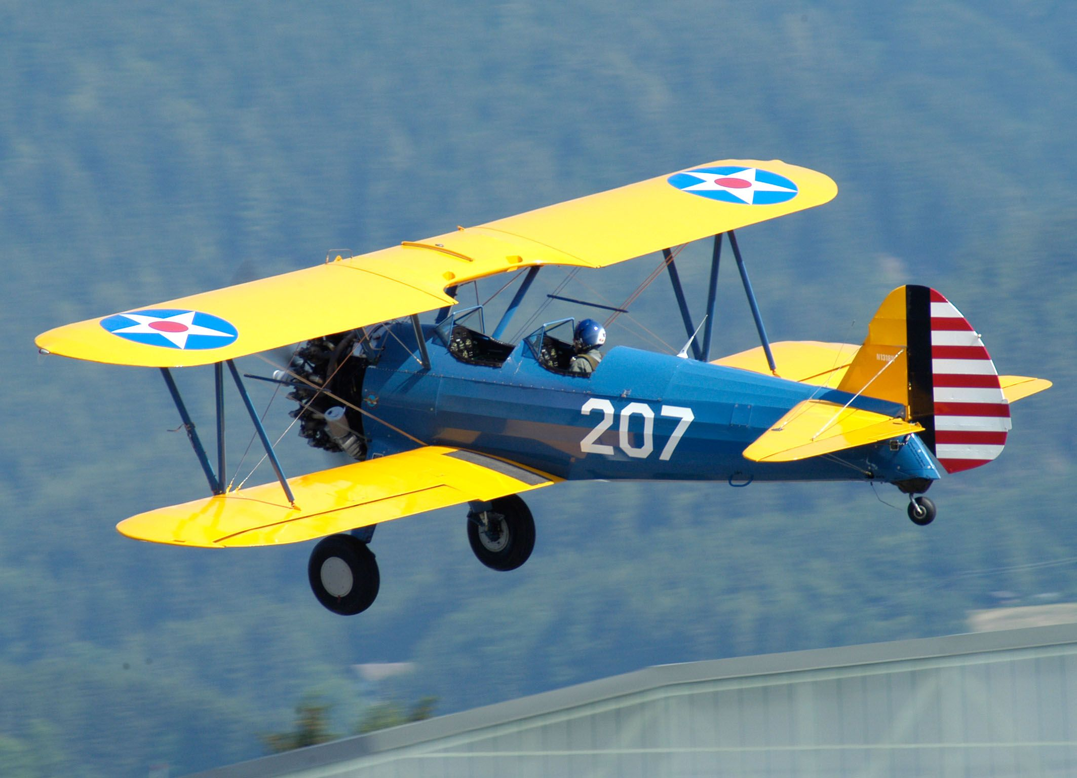 The Stearman Model 75 is a biplane used as a military trainer