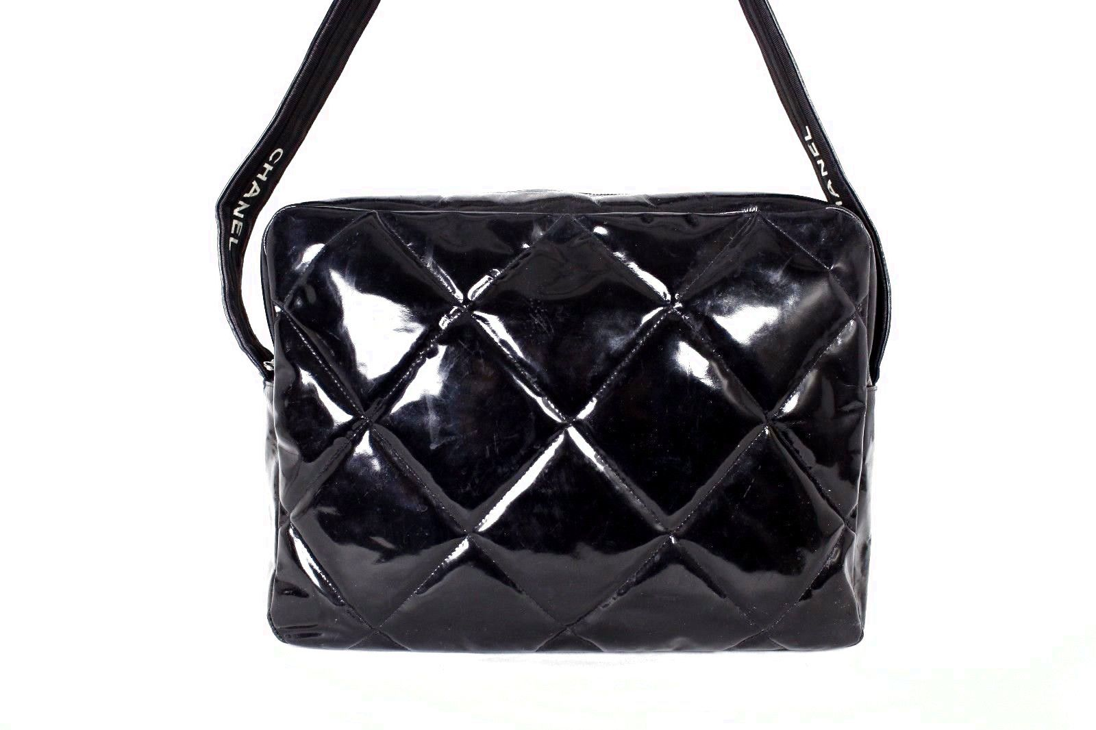 eeab6788c504 CHANEL Vintage Black Quilted Patent Leather Crossbody Messenger Bag  598.0
