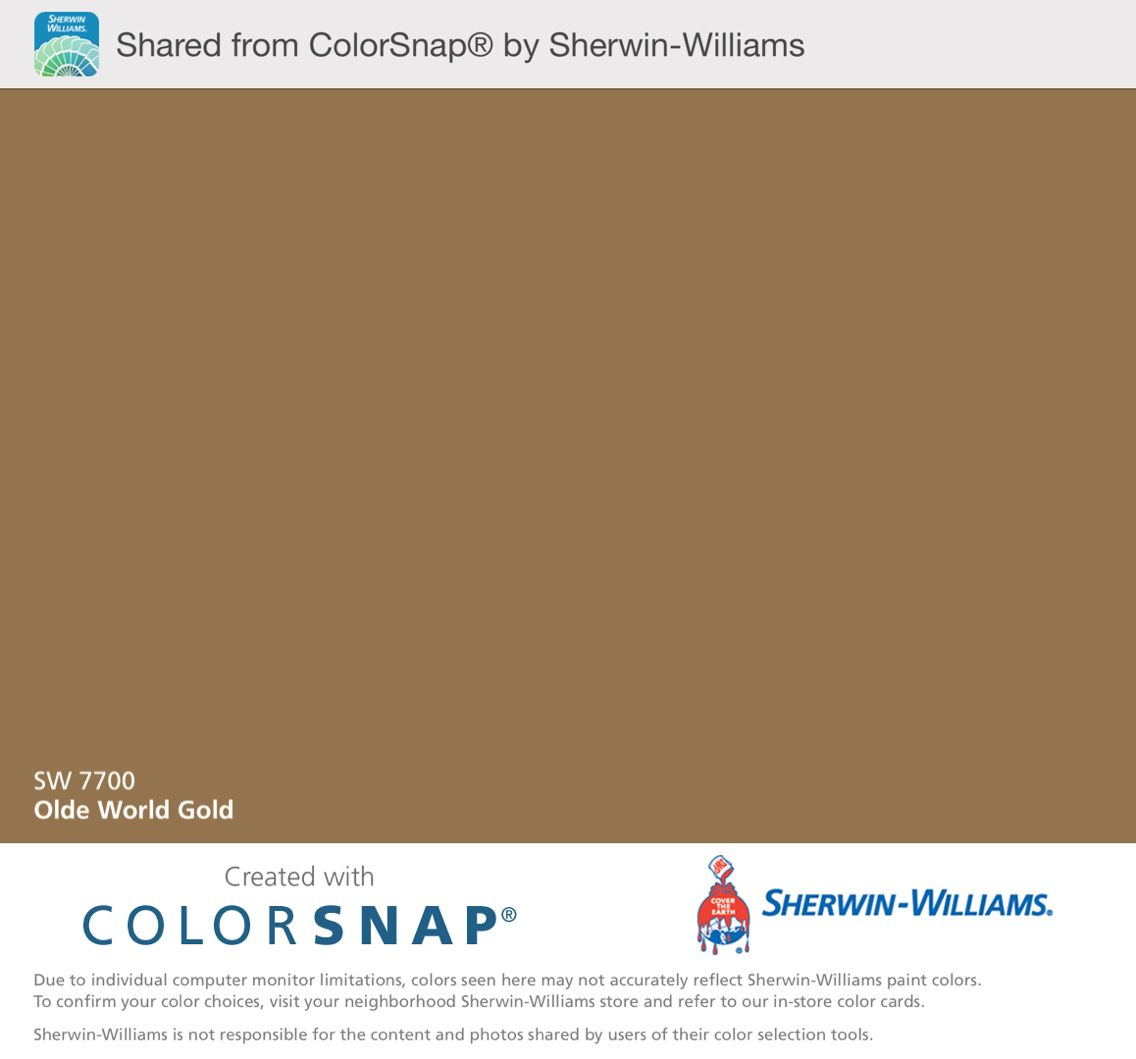 Olde World Gold Sherwin Williams Color Snap App shows this