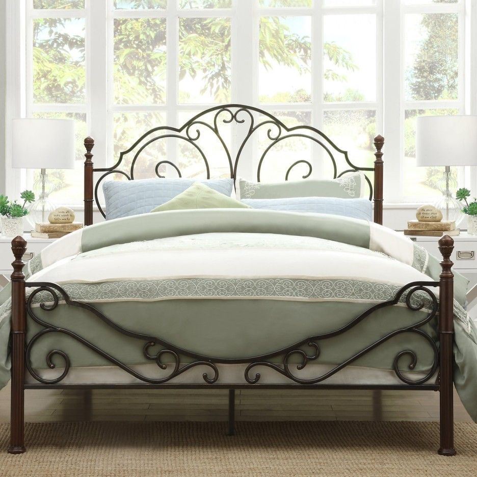 Dark Brown Polished Wrought Iron Bed