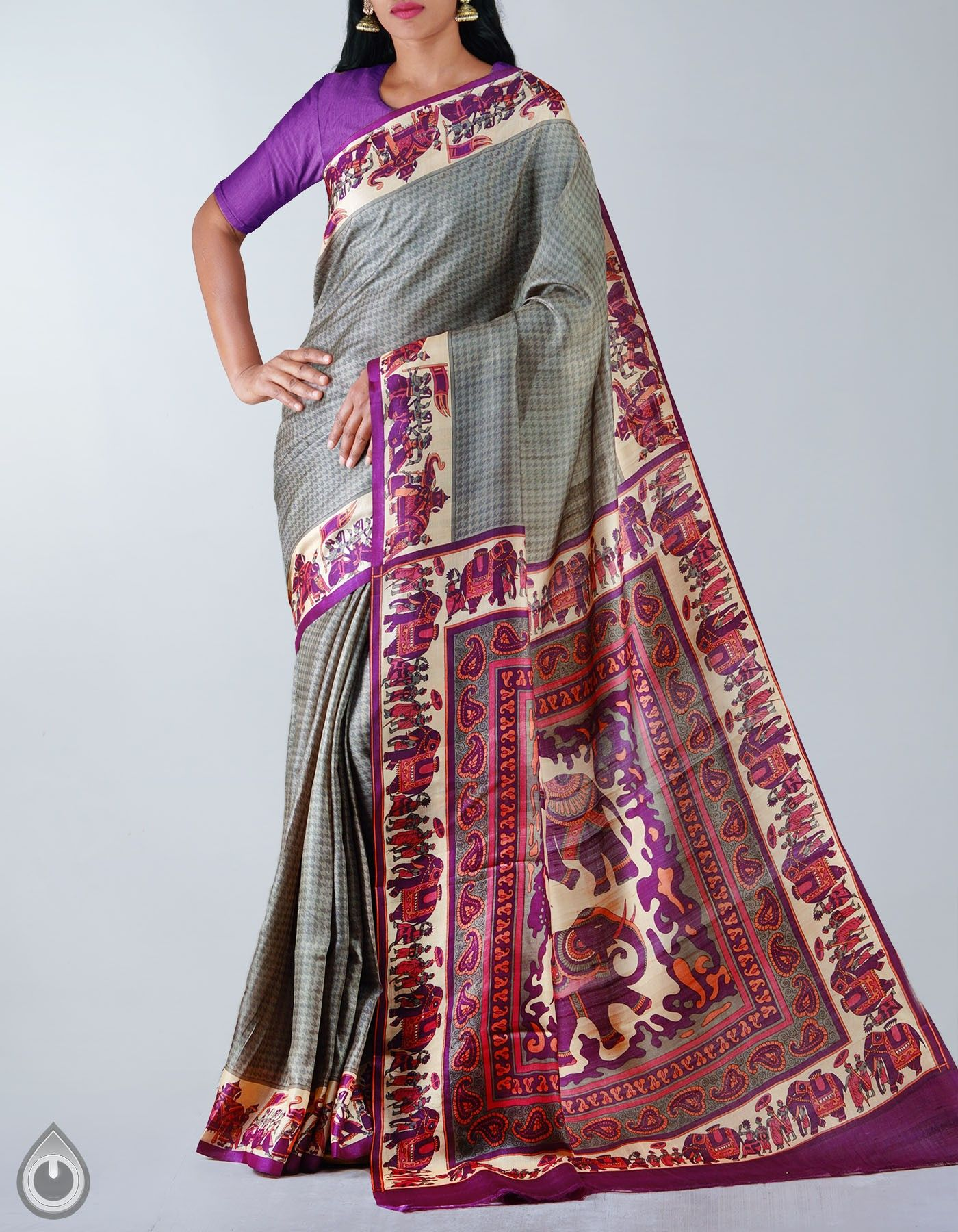 540be39bd6 Grey Pure Handloom Tussar Silk Saree,It has got elephant printed elegant  pallu and wedding inspired cream border,The saree is crafted by the Weavers  of ...