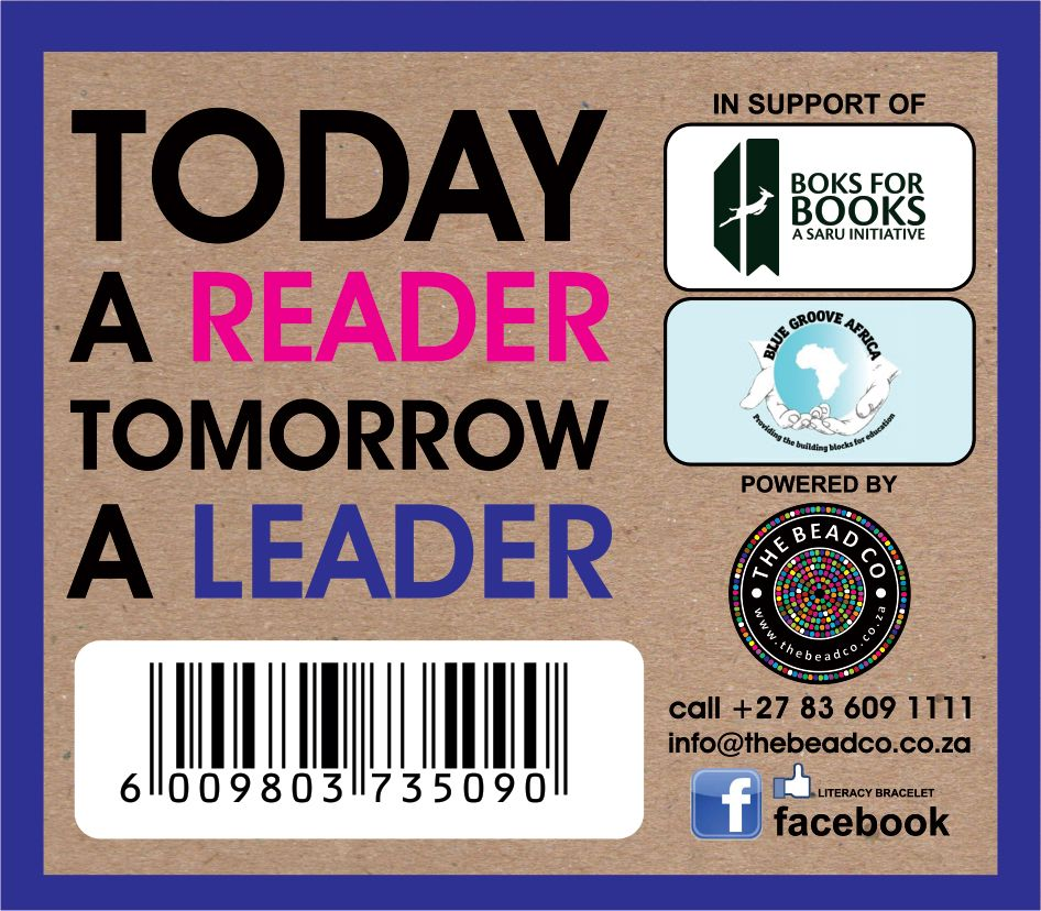 Literacy bracelet card. Support libraries and books in poor communities, to encourage more children to read and improve their education. Many schools in SA do not have libraries. The Springbok Rugby team has taken this on as their CSI. www.beadcoalition.com