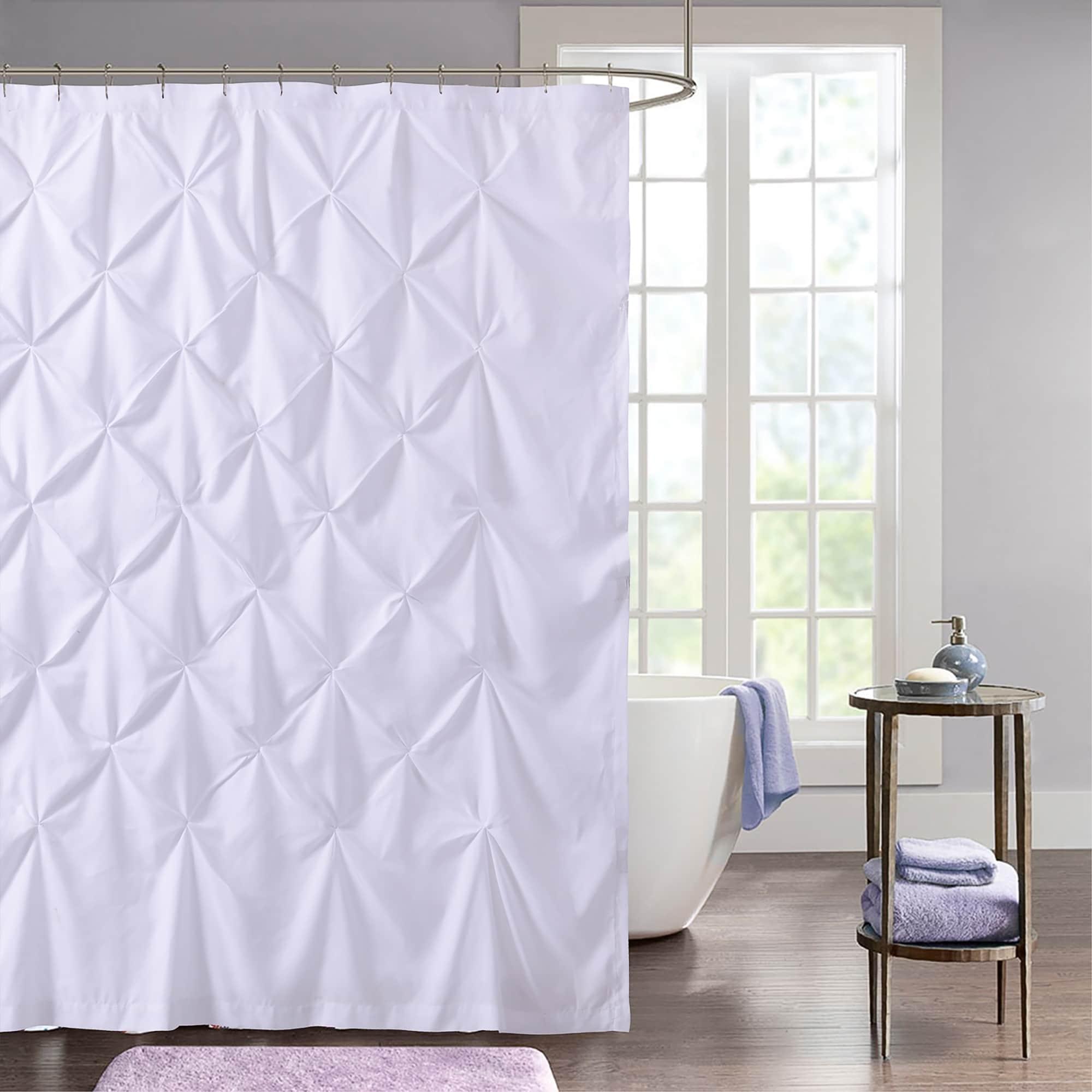 Hudson Pintuck Fabric Shower Curtain 72 X72 White Sweet Home
