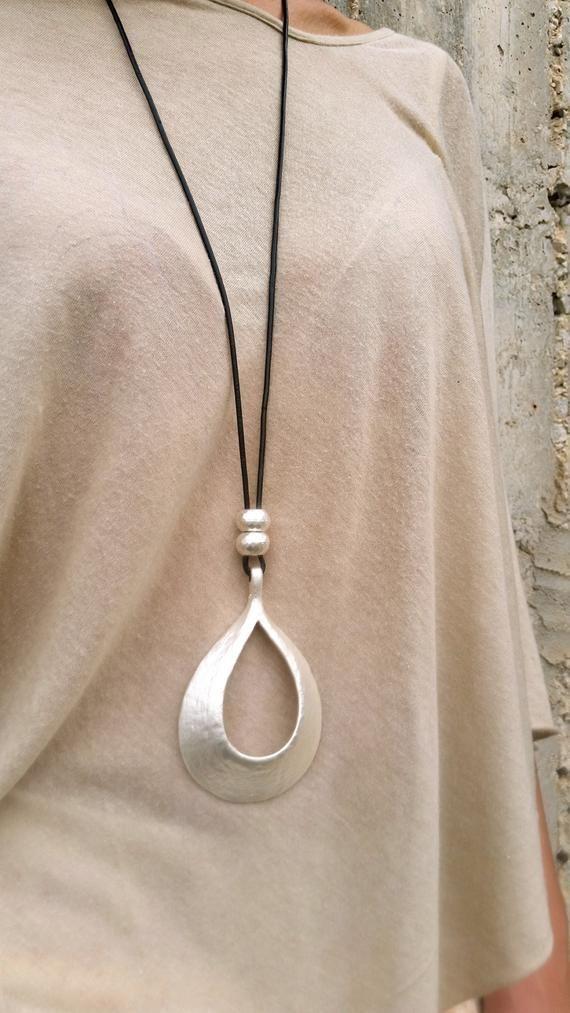 Photo of Long Pendant Necklace, Big Silver Pendant, Statement necklace, Large Necklace, Drop Shape Pendant, Classic Style, Fashion Long Necklace..