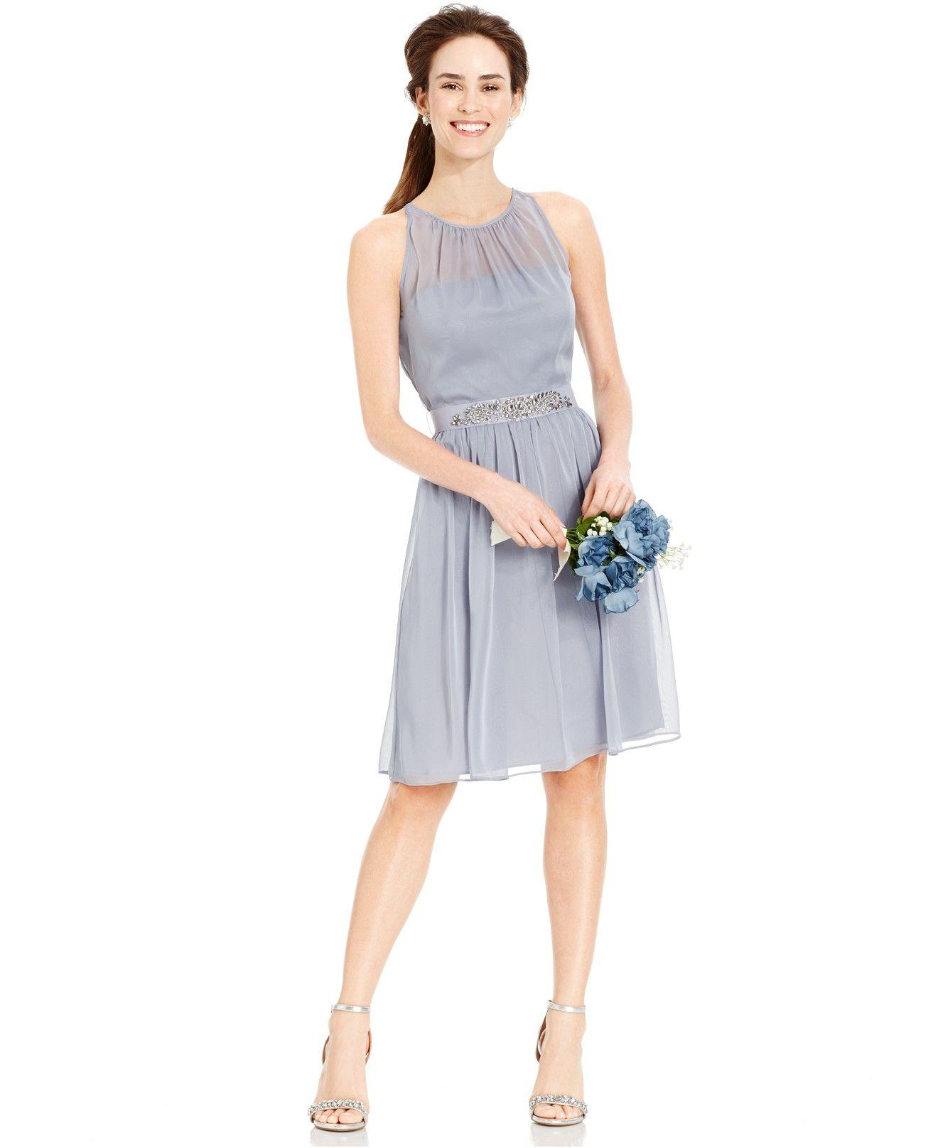 Macy S Wedding Day Dresses: Adrianna Papell Belted Chiffon Halter Dress