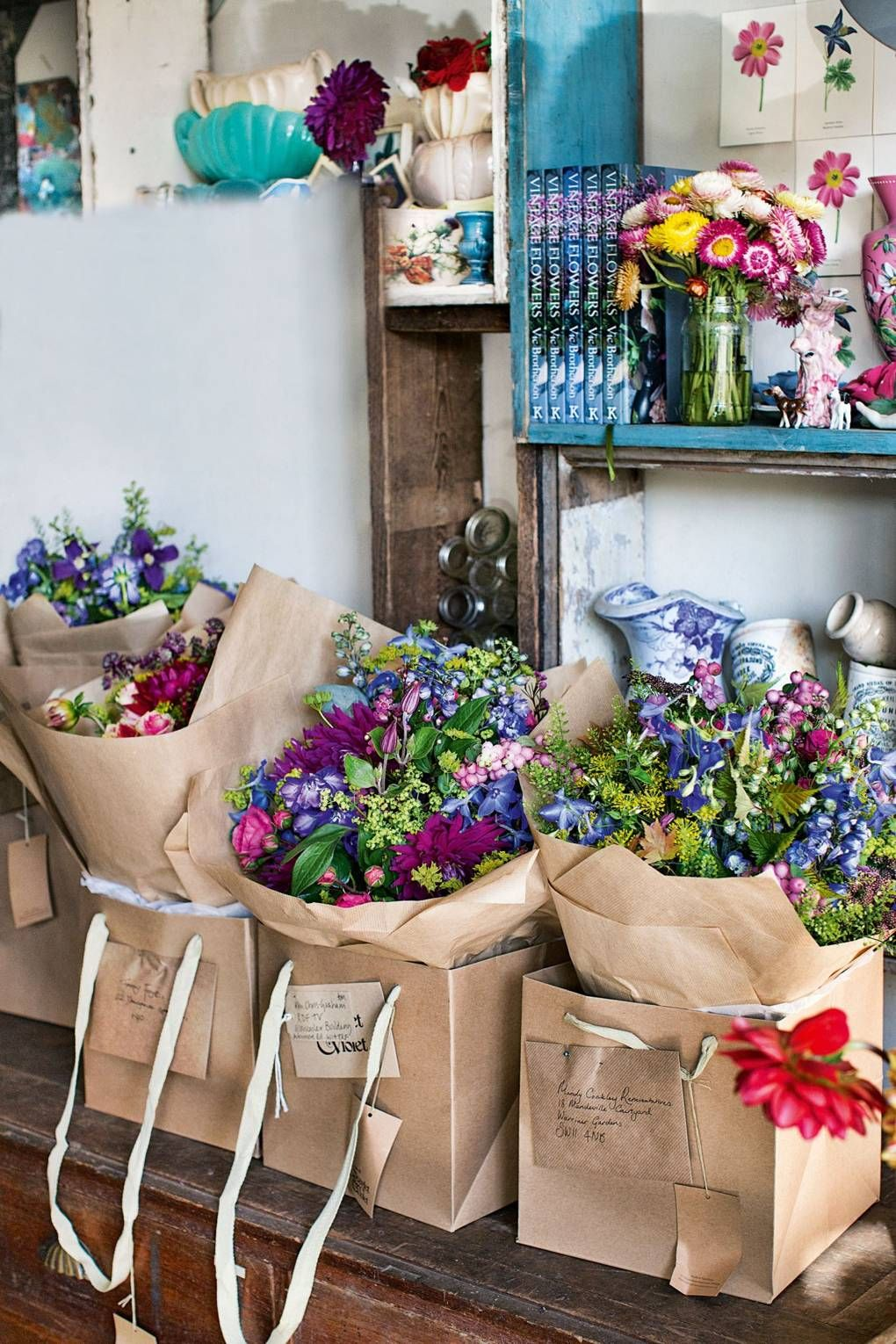 Roses are red, violets are blue Flower shop decor