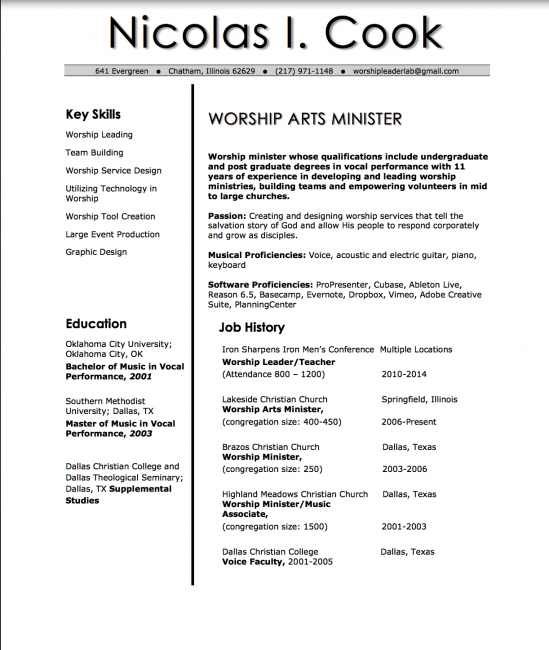 Worship Leader Resume  Resume Template    Worship