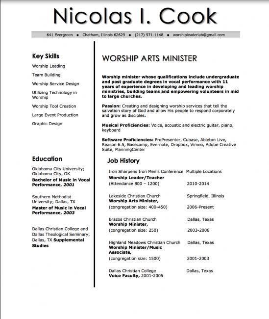 worship leader resume resume template pinterest worship