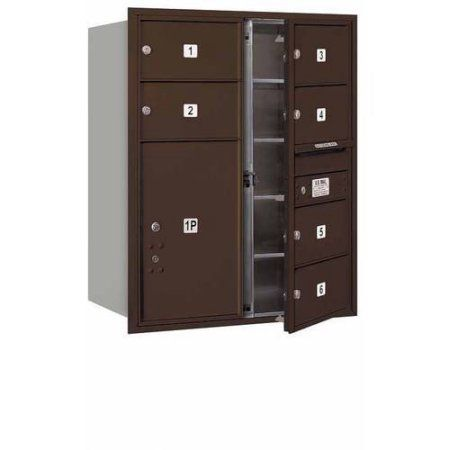 Salsbury Industries 4C Horizontal Mailbox 10-Door High Unit (37.5 inch), Double Column, 6 MB2 Doors, 1 PL6, Aluminum, Front Load, Usps Access, Bronze
