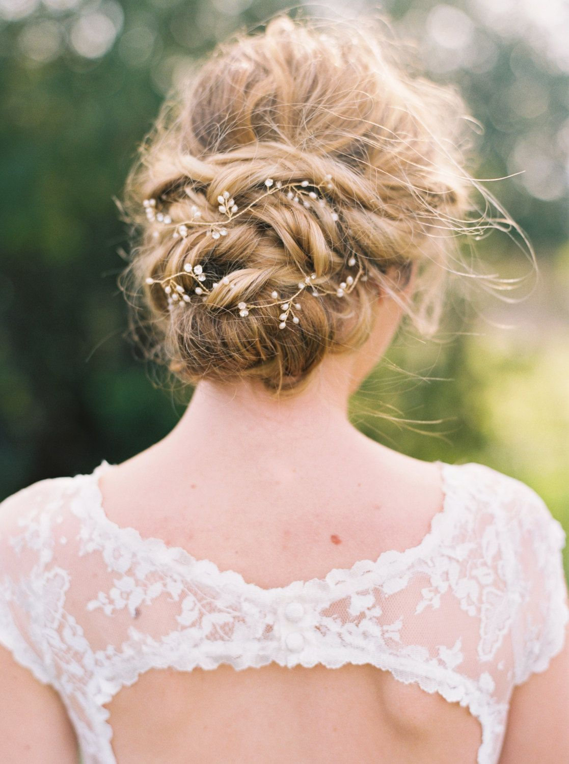 Bridal gold hair vine bridal hair vine pearl hair vine pearl
