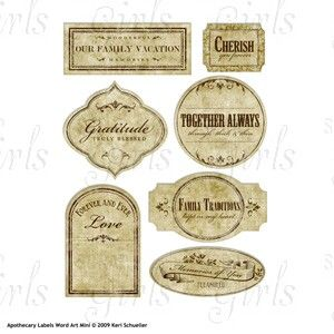 Scrap Girls Boutique - What's New?: Apothecary Labels Word Art Mini