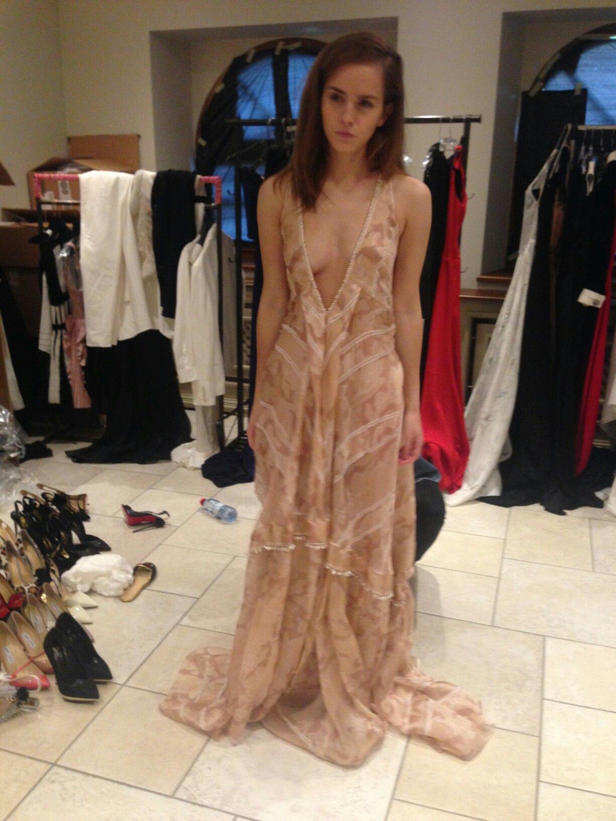 Emma Watson Trying On Dresses